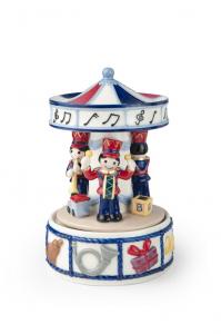 Carillon giostrina in porcellana con soldatini Hervit