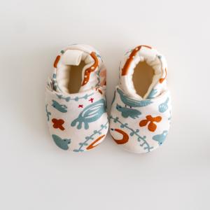 Scarpine neonato fantasia cerbiatto ruggine in cotone biologico-2