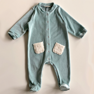Playsuit with petroleum-colored organic cotton chenille