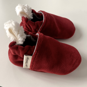 Scarpine neonato rosse in ciniglia di cotone biologico