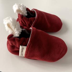 Scarpine antiscivolo rosse in ciniglia di cotone biologico