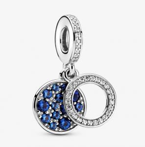 Charm pendente doppio con disco blu scintillante