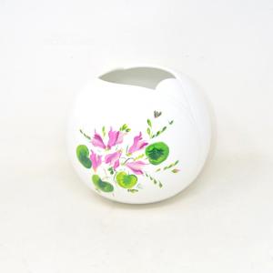Vase Holder Ceramic Flowers White Hand Painted