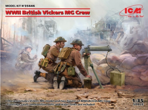 WWII British Vickers MG Crew Vickers MG + 2 Figures