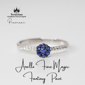 Anello Fiore Magic Fantasy Pavè Zaffiri e Diamanti