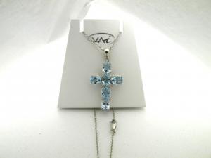 Topaz 18kt white gold cross necklace