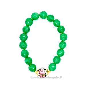 Bracciale verde in pietre dure con sfera in ceramica di Caltagirone - Gioielli Siciliani