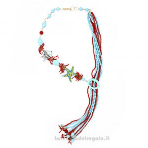 Collana in pasta di turchese con ciuffi di corallo e ceramica di Caltagirone - Gioielli Siciliani