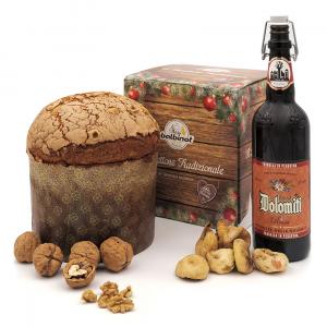 Panettone con birra Dolomiti, fichi e noci