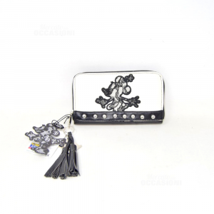 Portafoglio Minnie Mouse Ecopelle Bianco/ Nero Nuovo 18 10 Cm