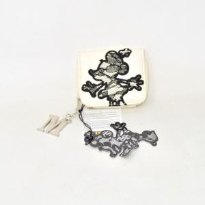 Portamonete Minnie Mouse Bianco Ecopelle 9 X 8 Cm
