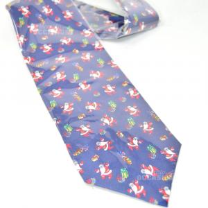 Cravatta Uomo Nuova Natalizia Sfondo Blu 100% Seta
