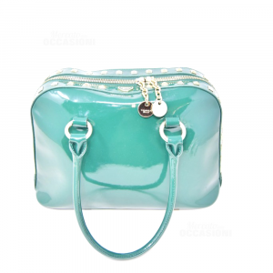 Bag Tosca Blue In Patent Leather Green With Studs Gold Plated 32x15x20
