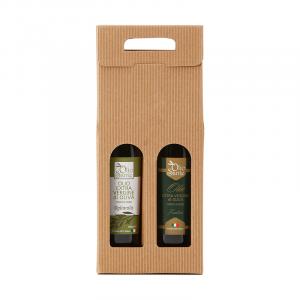Confezione regalo composta da due bottiglie di olio extravergine pugliese - olio evo Frantoio 0,500ml, Ogliarola 0,500 ml -2