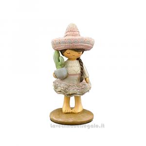 Statuina bimba Messicana con Cactus in resina 5.8x5.8x11 cm - Idea Regalo