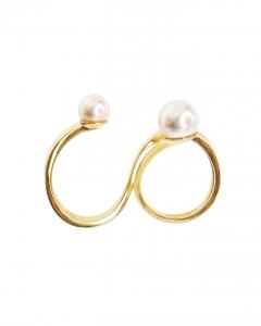Anello doppio in oro giallo con perle Akoya