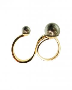 Anello doppio in oro giallo con perle Tahiti