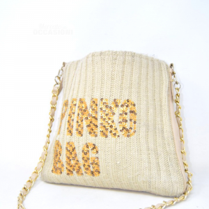 Fabric Bag Pinko Beige With Shoulder Strap A Chain Golden