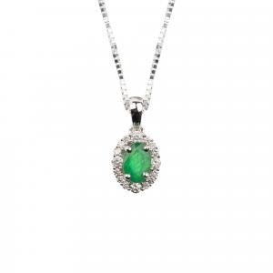 Girocollo Oro 18kt con Smeraldo ct.0,40 e Diamante ct.0,16