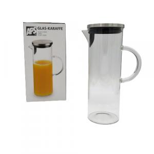 Caraffa vetro cilindrica con manico coperchio inox 1,5lt