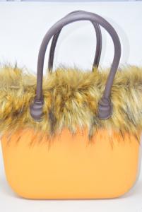 Borsa O Bag Arancione Con Pelo