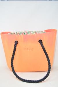 Borsa O Bag Arancione Con Manici In Corda Nera