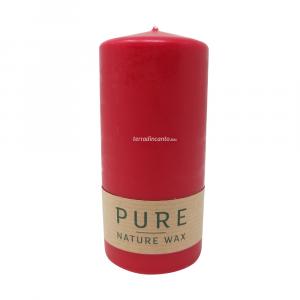 Candela con stearina olio di colza - rosso/karminnrot  Pure