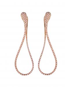 Orecchini cm. 7 in oro rosa e diamanti