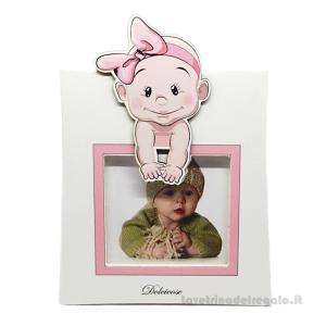 Portafoto Lolita Rosa con bambina 15x20 cm - Bomboniera battesimo bimba