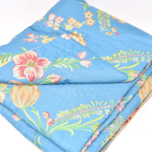 Trapunta 160x135 Cm Yellow Blue With Flowers