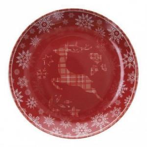 Tognana Piatto Panettone 30 cm Renna Oro Piatto Rosso Natalizio