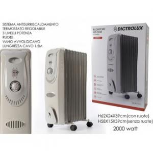 General Trade Radiatore Ad Olio 9 Elementi Bianco Riscaldamento 3 Livelli Di Potenza Con Ruote 2000 Watt