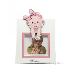 Portafoto Lolita Rosa con bambina 11x15 cm - Bomboniera battesimo bimba