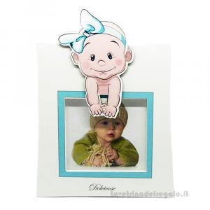 Portafoto Lolita Celeste con bambino 15x20 cm - Bomboniera battesimo bimbo