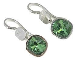 Orecchini donna Rebecca Gioielli. Cristalli verdi.