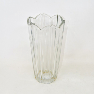Glass Vase Ribbed,height,height 22 Cm