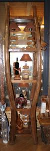 Libreria a 5 ripiani in legno di teak recuperato