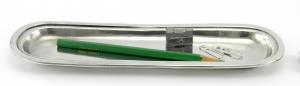 Portapenne rettangolare da scrivania in peltro 26x9 cm