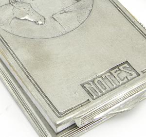 Block notes medio con custodia in peltro 18x10 cm