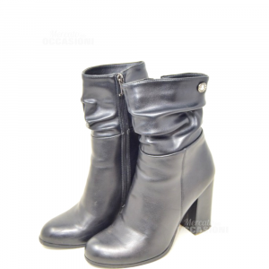 Ankle Boot Woman Black Leather Lancets N°.38