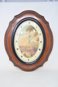 Orologio Da Parete 50 X 40 Cm Cornice In Legno Con Stampa Paesaggio
