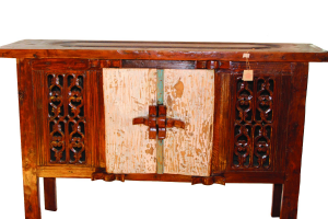 Buffet in legno di teak recuperato indonesiano con portale antico