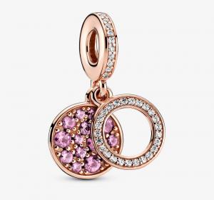 Charm pendente doppio con disco rosa scintillante