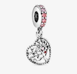 Charm pendente Albero della famiglia rosa