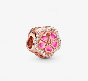 Charm Fiore di pesco scintillante rosa