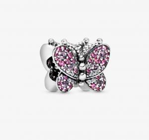 Charm Farfalla con pavé rosa