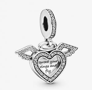 Charm pendente Cuore e ali d'angelo