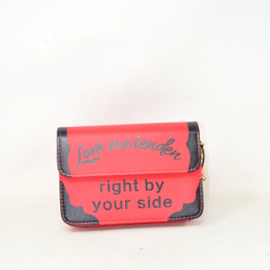 Clutch Bag Red / Black Faux Leather Love Me Tenden 20x14x5 Cm