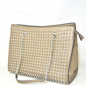 Bag New In Faux Leather Golden With Studs 37x29x16 Cm