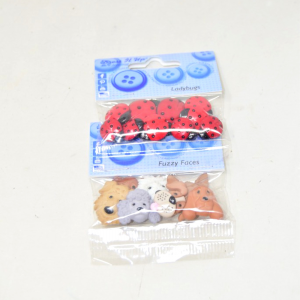 Buttons Decorative Dogs And Ladybugs 17 Pcs Total